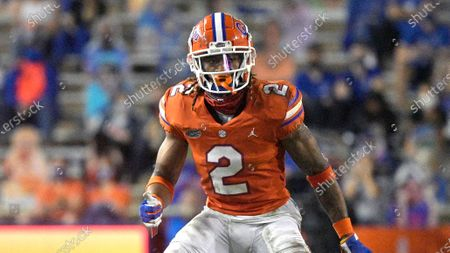 Florida defensive back Brad Stewart Jr. (2) follows a play during the second half of an NCAA college football game against Arkansas, in Gainesville, Fla