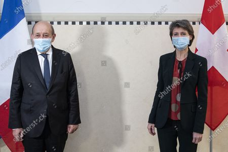 Stock Image of Swiss Federal President Simonetta Sommaruga (R) welcomes Jean-Yves Le Drian (L), Foreign Minister of France, during an official visit to Switzerland, in Bern, Switzerland, 16 November 2020.