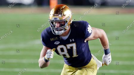 Stock Photo of Notre Dame tight end Michael Mayer plays against Boston College during the first half of an NCAA college football game, in Boston