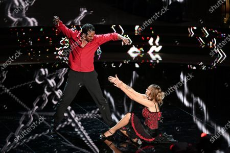 Mykael Fonts and Alessandra Mussolini during the performance