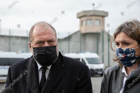 Press point by Eric Dupond-Moretti Minister of Justice and Yael Braun-Pivet Pdte of the Law Commission. Visit of Eric Dupond-Moretti Minister of Justice to the Val d'Oise detention center.