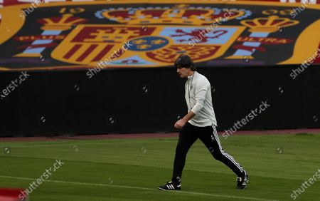 Germany's head coach, Joachim Low, leads a training session of the team in La Cartuja stadium, in Seville, southern Spain, 16 November 2020. Germany will face Spain in an UEFA Nations League group D stage match on 17 November.
