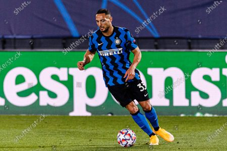 Danilo D'Ambrosio of Internazionale in action during the UEFA Champions League group stage match between Real Madrid and Internazionale at Estadio Alfredo Di Stefano in Madrid, Spain.