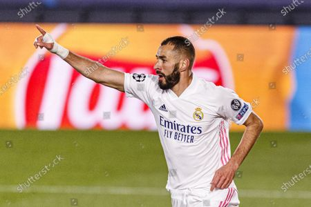 Karim Benzema of Real Madrid celebrates his goal during the UEFA Champions League group stage match between Real Madrid and Internazionale at Estadio Alfredo Di Stefano in Madrid, Spain.