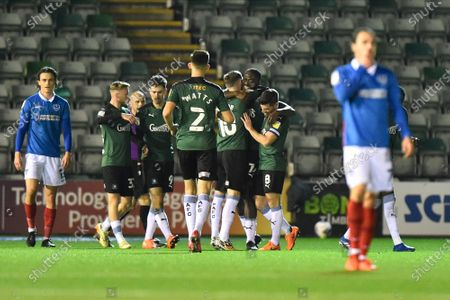 Stock Picture of Caption correction - Goal 1-0 - Frank Nouble (7) of Plymouth Argyle celebrates the own goal scored by Sean Raggett (20) of Portsmouth during the EFL Sky Bet League 1 match between Plymouth Argyle and Portsmouth at Home Park, Plymouth