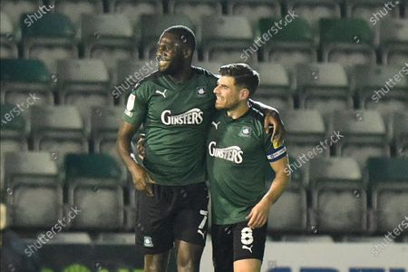 Caption correction - Goal 1-0 - Frank Nouble (7) of Plymouth Argyle celebrates the own goal scored by Sean Raggett (20) of Portsmouth during the EFL Sky Bet League 1 match between Plymouth Argyle and Portsmouth at Home Park, Plymouth