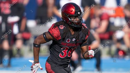 Stock Image of San Diego State safety Dwayne Johnson Jr. during an NCAA football game against Hawaii on in Carson, Calif