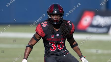 San Diego State safety Dwayne Johnson Jr. during an NCAA football game against Hawaii on in Carson, Calif