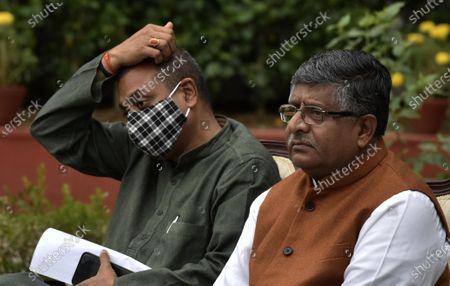 Union Minister, Ravi Shankar Prasad and BJP spokesperson Sambit Patra showing address press conference on Kashmir issue at his residence on November 16, 2020 in New Delhi, India.