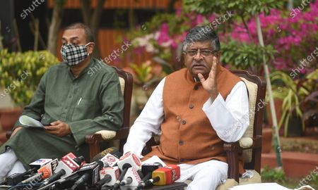 Stock Image of Union Minister, Ravi Shankar Prasad and BJP spokesperson Sambit Patra showing address press conference on Kashmir issue at his residence on November 16, 2020 in New Delhi, India.