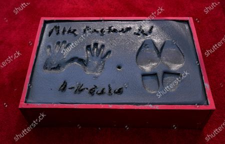The hand and footprints of actor Michael Madsen are pictured in cement following a ceremony for him at the TCL Chinese Theatre, in Los Angeles