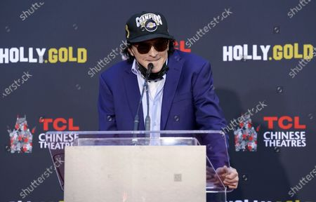 Actor Michael Madsen addresses the audience during a hand and footprint ceremony for him at the TCL Chinese Theatre, in Los Angeles