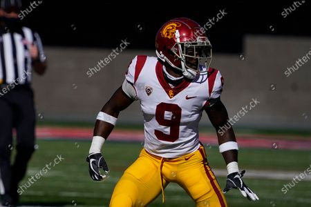 Stock Photo of Southern California safety Greg Johnson (9) in the second half during an NCAA college football game against Arizona, in Tucson, Ariz. Southern California won 34-30