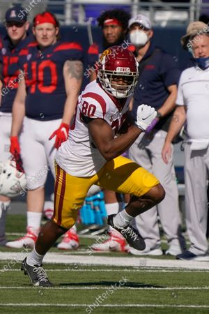 Southern California wide receiver John Jackson III (80) in the second half during an NCAA college football game against Arizona, in Tucson, Ariz. Southern California won 34-30