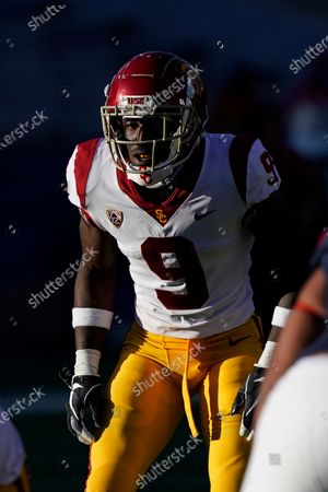 Southern California safety Greg Johnson (9) in the second half during an NCAA college football game against Arizona, in Tucson, Ariz. Southern California won 34-30