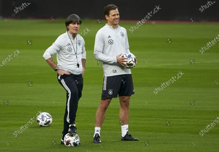 Joachim Low, Manager of Germany and Sport Director of Germany Olivier Bierhoff during a training session ahead the UEFA Nations League group stage match between Spain and Germany