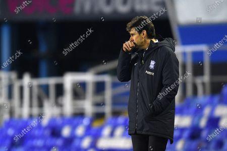 Aitor Karanka Head Coach of Birmingham City looks on.