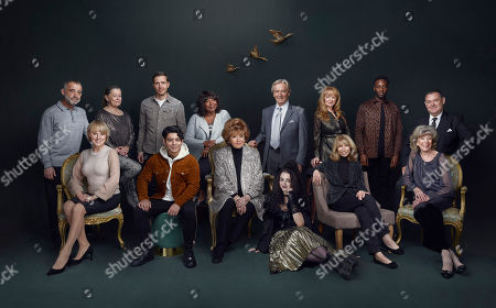 Stock Picture of William Roache (Ken Barlow, who joined the show on the 9th December 1960), Barbara Knox (Rita Tanner, 02 December 1964), Helen Worth (Gail Platt, 29 July 1974), Sue Nicholls (Audrey Roberts, 16 April 1979), Michael Le Vell (Kevin Webster, 19 October 1983), Sally Ann Matthews (Jenny Connor, 06 January 1986), Sally Dynevor (Sally Metcalf, 27 January 1986) with new cast members - Ryan Russell (Michael Bailey), Gareth Pierce (Todd Grimshaw), Mollie Gallagher (Nina Lucas), Lorna Laidlaw (Aggie Bailey).