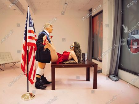 Trump and Miss Universe Sculpture by Alison Jackson on display at the Soho Revue Gallery in London depicting US President Donald Trump having relations with Miss Universe.