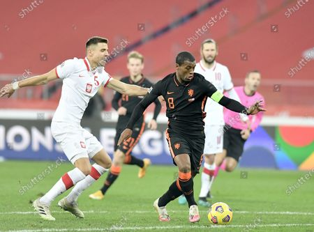 Jan Bednarek of Poland end Georginio Wijnaldum of Netherlands