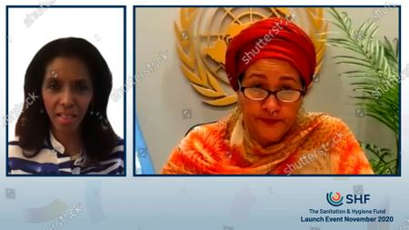 """In this image released, Ms Amina J. Mohammed, United Nations Deputy Secretary-General, right, described safe sanitation and hygiene as """"critical to the response that we want to see, first, because it is about human dignity. Second, it is a health issue."""" The online launch event was moderated by international broadcaster Ms Zeinab Badawi. The Sanitation and Hygiene Fund is seeking US$2 billion over the coming five years to support countries in bringing sanitation, hygiene, and menstrual health to all. Press release and media available to download at www.apmultimedianewsroom.com/newsaktuell. ** HANDOUT IMAGE ** Free to use. Please see Special Instructions field"""