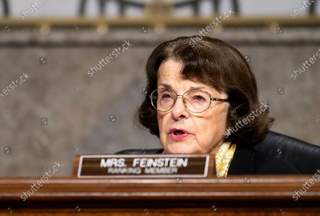 """United States Senator Dianne Feinstein (Democrat of California), Ranking Member, US Senate Judiciary Committee, questions Mark Zuckerberg, Chief Executive Officer of Facebook, and Jack Dorsey, Chief Executive Officer of Twitter, during the Senate Judiciary Committee hearing on """"Breaking the News: Censorship, Suppression, and the 2020 Election""""."""