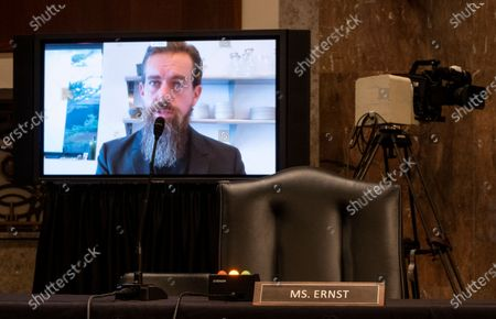 """Jack Dorsey, Chief Executive Officer of Twitter, testifies remotely during the Senate Judiciary Committee hearing on """"Breaking the News: Censorship, Suppression, and the 2020 Election""""."""