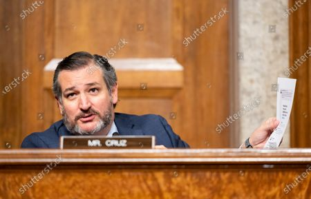 """United States Senator Ted Cruz (Republican of Texas), questions Mark Zuckerberg, Chief Executive Officer of Facebook, and Jack Dorsey, Chief Executive Officer of Twitter, during the US Senate Judiciary Committee hearing on """"Breaking the News: Censorship, Suppression, and the 2020 Election""""."""