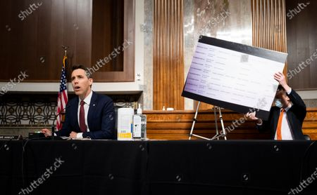 """United States Senator Josh Hawley (Republican of Missouri), questions Mark Zuckerberg, Chief Executive Officer of Facebook, during the US Senate Judiciary Committee hearing on """"Breaking the News: Censorship, Suppression, and the 2020 Election""""."""