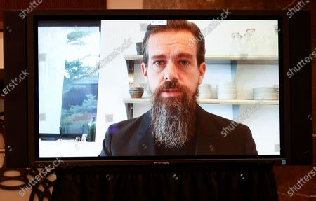 """Twitter CEO Jack Dorsey is seen testifying remotely via videoconference during a Senate Judiciary Committee hearing titled, """"Breaking the News: Censorship, Suppression, and the 2020 Election,"""" on Facebook and Twitter's content moderation practices, on Capitol Hill in Washington, U.S.,."""