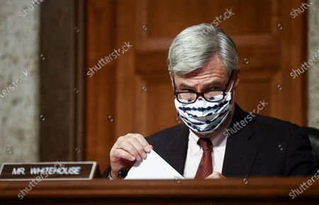 """United States Senator Sheldon Whitehouse (Democrat of Rhode Island) attends a US Senate Judiciary Committee hearing titled, """"Breaking the News: Censorship, Suppression, and the 2020 Election,"""" on Facebook and Twitter's content moderation practices, on Capitol Hill in Washington, U.S.,."""