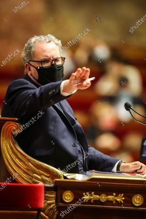Stock Image of President of the National Assembly Richard Ferrand participates in a session of Questions to the government at the National Assembly in Paris, France, 17 November 2020. A draft global security legislation presented to the French Parliament creates controversy. Critics have warned that the proposed bill would be a danger to press freedom.
