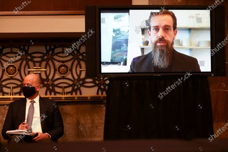 Twitter CEO Jack Dorsey is seen testifying remotely via videoconference during a Senate Judiciary Committee hearing titled, 'Breaking the News: Censorship, Suppression, and the 2020 Election' on Facebook and Twitter's content moderation practices, on Capitol Hill in Washington, DC, USA, 17 November 2020.