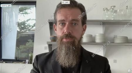 """Jack Dorsey, Chief Executive Officer, Twitter, Inc., testifies remotely during a US Senate Judiciary Committee hearing titled, """"Breaking the News: Censorship, Suppression, and the 2020 Election,"""" on Facebook and Twitter's content moderation practices, on Capitol Hill in Washington, U.S.,."""