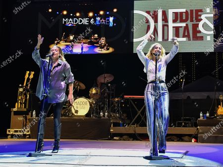 Taylor Dye (L) and Maddie Marlow (R) with the band Maddie and Tae perform in concert during the River and Blues Festival