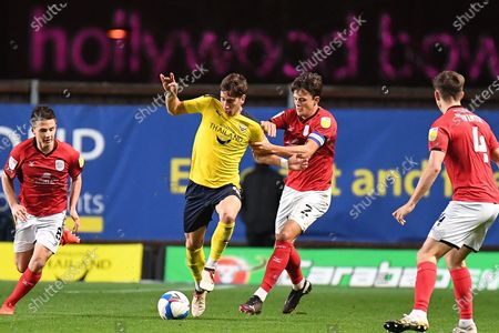 Stock Photo of Oxford United midfielder Alex Rodriguez Gorrin(6) battles for possession  with Crewe Alexandra defender Perry Ng (2) during the EFL Sky Bet League 1 match between Oxford United and Crewe Alexandra at the Kassam Stadium, Oxford