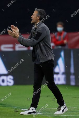 Stock Image of Spanish national soccer team head coach Luis Enrique reacts during the UEFA Nations League soccer match, group 4, between Spain and Germany at La Cartuja Stadium in Sevilla, Spain, 17 November 2020.