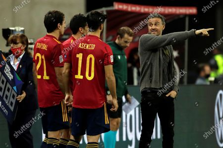 Stock Photo of Spanish national soccer team head coach Luis Enrique (R) gestures during the UEFA Nations League soccer match, group 4, between Spain and Germany at La Cartuja Stadium in Sevilla, Spain, 17 November 2020.