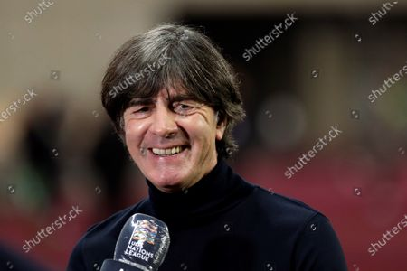 Stock Image of Germany national soccer team head coach Joachim Loew talks with journalists before their UEFA Nations League soccer match against Spain at La Cartuja stadium, in Sevilla, Spain, 17 November 2020.