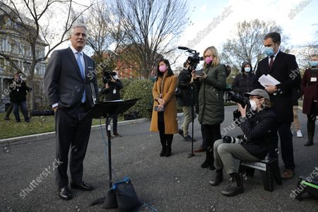 National security adviser Robert O'Brien talks to reporters outside the West Wing of the White House in Washington, DC, USA, on 17 November 2020