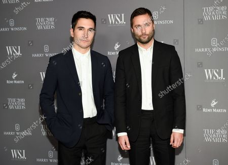 Stock Picture of Designers Lazaro Hernandez, left, and Jack McCollough attend the WSJ. Magazine 2019 Innovator Awards in New York on . The designer duo have been thinking about longterm changes to the way they and their colleagues work. In an interview they mused that maybe less is more and they don't need to do runway shows with every collection