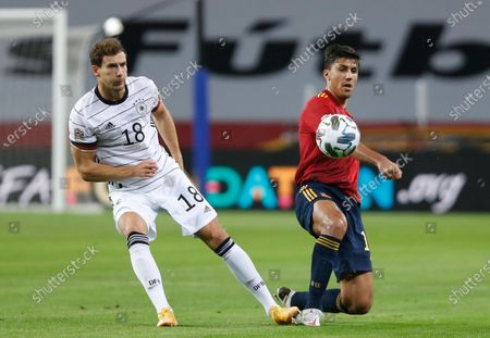Germany's Leon Goretzka shoots the ball during the UEFA Nations League soccer match between Spain and Germany in Seville, Spain