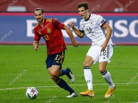 Fabian Ruiz of Spain and Leon Goretzka of Germany