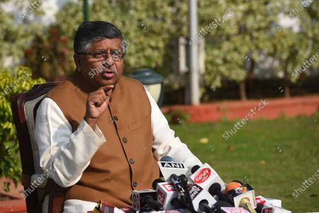 Stock Image of Union Minister Ravi Shanker Prasad address the media on Augusta Westland scam at his residence on November 17, 2020 in New Delhi, India. Union law minister Ravi Shankar Prasad hit out at the Congress and said no defence deals were completed during their tenure without kickbacks.  The minister's comments came in the wake of a news report that Rajiv Saxena, a chartered accountant and key accused in the Rs 3,000-crore AgustaWestland VVIP chopper deal case has allegedly made references to Bakul Nath and Ratul Puri, the son and nephew of former Madhya Pradesh chief minister Kamal Nath, and Congress leaders Salman Khurshid and Ahmed Patel during his interrogation.