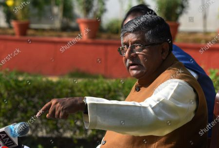 Union Minister Ravi Shanker Prasad address the media on Augusta Westland scam at his residence on November 17, 2020 in New Delhi, India. Union law minister Ravi Shankar Prasad hit out at the Congress and said no defence deals were completed during their tenure without kickbacks.  The minister's comments came in the wake of a news report that Rajiv Saxena, a chartered accountant and key accused in the Rs 3,000-crore AgustaWestland VVIP chopper deal case has allegedly made references to Bakul Nath and Ratul Puri, the son and nephew of former Madhya Pradesh chief minister Kamal Nath, and Congress leaders Salman Khurshid and Ahmed Patel during his interrogation.