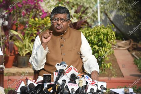 Stock Picture of Union Minister Ravi Shankar Prasad holds a press conference on alleged kickbacks in defence deals during previous regimes, at his residence on November 17, 2020 in New Delhi, India. Union law minister Ravi Shankar Prasad hit out at the Congress and said no defence deals were completed during their tenure without kickbacks.  The minister's comments came in the wake of a news report that Rajiv Saxena, a chartered accountant and key accused in the Rs 3,000-crore AgustaWestland VVIP chopper deal case has allegedly made references to Bakul Nath and Ratul Puri, the son and nephew of former Madhya Pradesh chief minister Kamal Nath, and Congress leaders Salman Khurshid and Ahmed Patel during his interrogation.