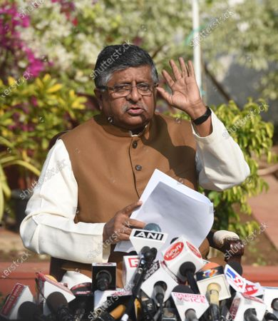 Union Minister Ravi Shankar Prasad holds a press conference on alleged kickbacks in defence deals during previous regimes, at his residence on November 17, 2020 in New Delhi, India. Union law minister Ravi Shankar Prasad hit out at the Congress and said no defence deals were completed during their tenure without kickbacks.  The minister's comments came in the wake of a news report that Rajiv Saxena, a chartered accountant and key accused in the Rs 3,000-crore AgustaWestland VVIP chopper deal case has allegedly made references to Bakul Nath and Ratul Puri, the son and nephew of former Madhya Pradesh chief minister Kamal Nath, and Congress leaders Salman Khurshid and Ahmed Patel during his interrogation.