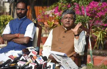 Stock Photo of Union Minister Ravi Shankar Prasad holds a press conference on alleged kickbacks in defence deals during previous regimes, at his residence on November 17, 2020 in New Delhi, India. Union law minister Ravi Shankar Prasad hit out at the Congress and said no defence deals were completed during their tenure without kickbacks.  The minister's comments came in the wake of a news report that Rajiv Saxena, a chartered accountant and key accused in the Rs 3,000-crore AgustaWestland VVIP chopper deal case has allegedly made references to Bakul Nath and Ratul Puri, the son and nephew of former Madhya Pradesh chief minister Kamal Nath, and Congress leaders Salman Khurshid and Ahmed Patel during his interrogation.