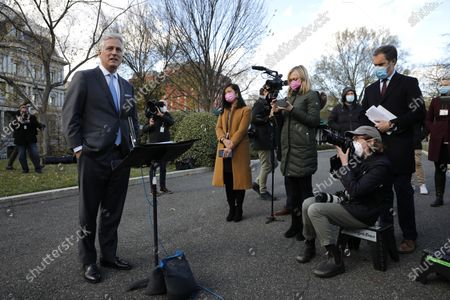 National security adviser Robert O'Brien talks to reporters outside the West Wing of the White House in Washington.