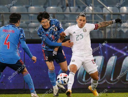 (L-R)  Yuta Nakayama of Japan Genki Haraguchi of Japan and Jorge Sanchez of Mexico in action